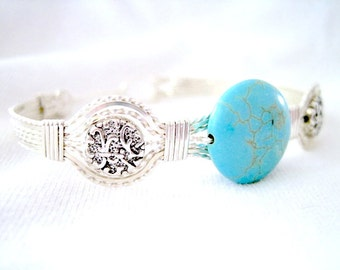 """Turquoise Flat Round Sterling Silver Metal Wire Wrapped Bracelet 7-1/2"""""""