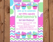 Cupcake Invitation - First Birthday Cupcake Invitation - Girl Cupcake Invitation - Pastels - Cupcake - Digital Invitation - Printable