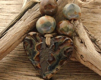 BLUE JEAN HEART - Handmade Ceramic Pendant with 4 Coordinating Beads