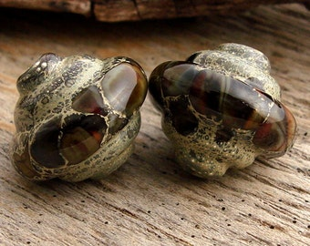 TERRAIN - Baroque Shaped Lampwork - Handmade Lampwork Earring Pair - (2)