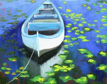 Boat 47 18x24 inch original impressionistic oil painting by Roz