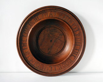 Antique Wood Collection Plate Church Offering Tray Treen Bowl Turned Maple Wood Carved Letters Brown Religious Rustic Home Decor