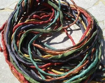 Warm Earthy Silk Cord Assortment 2-3mm Hand Dyed Hand Sewn Cording Bulk 10 to 50 Strings, Earthtone Silk Cords, Brown Green Yellow Gray