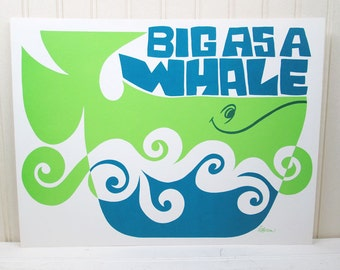 Vintage Children's School Poster Big As A Whale Mod Rhino Illustration Current Inc.