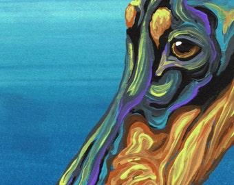 ACEO ATC  Original Gouache Painting Rainbow Doberman Dog Pet Art-Carla Smale