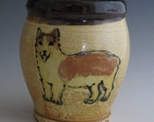 Large mug with slip trailed Dog Welsh Corgi