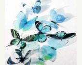 NEW YEAR SALE 6 x Special Aqua 3D Butterflies great for Weddings, Crafts