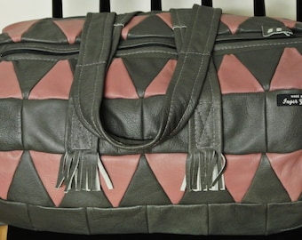Unique ONE-OF-A-KIND large new/unused shoulder-bag/handbag of strong pink/ grey real natural skin/ leather in patchwork