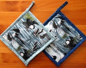 Set of 2 Loon Potholders in Your Choice of Color, Loon Pot Holders, Blue Fabric Pot Holders, Loon Hot Mats, Loon Hot Pads, Bird Lover