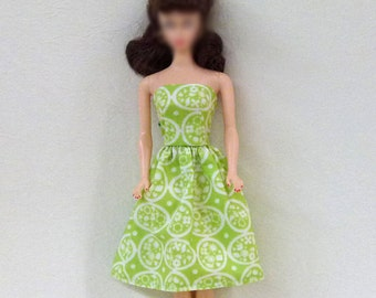 "11.5"" Handmade Fashion Doll Clothes - dress lime"