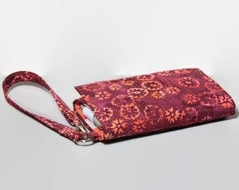 Smartphone Wallet Wristlet / iPhone Card Wallet / Cell Phone Wristlet / Galaxy Note S5 / Moto X / NEW STYLE TECH  / Raspberry Peach Batik