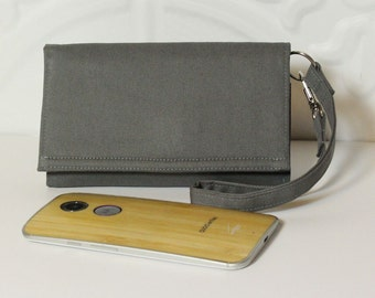 Cell Phone Wallet Wristlet READY TO SHIP / Lg G3 & G4, Moto X Pure, Droid Maxx Wallet Case, SmartPhone Wallet 1X / Steel Gray Solid