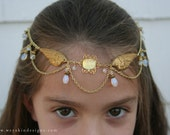 Golden Goddess Angel Wings Circlet - Gold, Crystal, Opalescent - Belly Dance, Wedding, Renaissance or Costume Accessory
