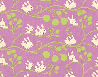 HALF YARD Garden Cream Bunnies and Green Vines on Lilac by David Walker for Free Spirit pwdw078-lilac quilt cotton fabric