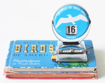 Vintage Seagull Calendar, Chesapeake Bay Bridge, Virginia, Perpetual Flip Calendar