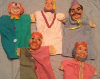 5 vintage hand puppets