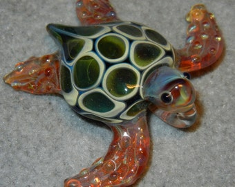 Lampwork Boro Glass Pendant - Focal Bead - SEA TURTLE green amber