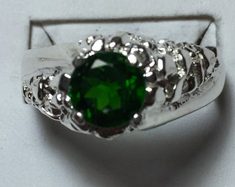 Demantoid garnet mens ring