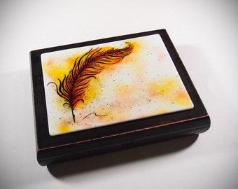 Phoenix Feather ~ Keepsake Memory Box ~ Home Decor ~ Trinket Jewelry Box ~ Fused Glass and Wood