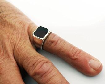 Man signet ring. silver Signet ring, square silver Ring, Carnelian ring,black onyx ring, Israeli Rings. Hipster Ring.Gift for man