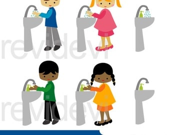 Kids washing hands clipart - kids and bathroom sink clipart - wash your hands clip art digital images