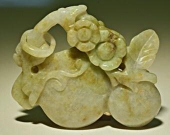 Vintage JADE PENDANT Carved Green Fruite Flowers 150.0 cts cj35