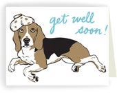 Get Well Soon Beagle, Boxed Set of 8 Greeting Cards