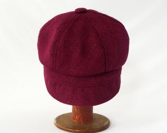 Garnet Red Silk Womens Newsboy Hat : Womens, Girls Hat, Spring Style, Summer Fashion, Cute Newsboy Cap, Raw Silk, Comfy Stylish Hat, Crimson
