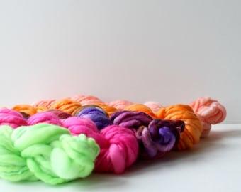 yarn set, weaving creative yarn bundle, hand spun, hand dyed yarn, handspun art yarn .. tropicana