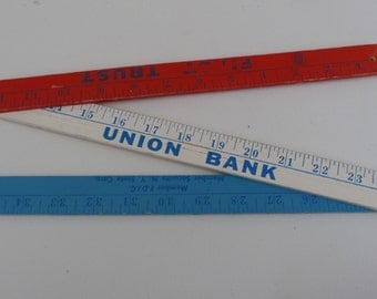 Vintage advertising folding ruler Red white and blue made in usa