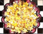 Buttons - Supplies - 100 Yellow Buttons, Yellow Vintage Button Lot,