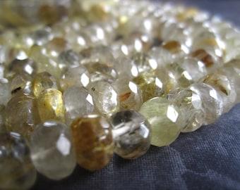 Golden Rutilated Quartz faceted stone semiprecious gemstone beads - 7 inches - rondelles