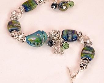 Lampwork Bracelet - Lampwork Blue Green Seashell Karen Hill Tribe Silver Bead Bracelet - KTBL
