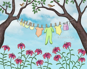 clean baby, happy home - signed digital illustration art print 8X10 inches by Sarah Knight, clothesline laundry art house wrens lilies birds