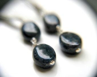 Indigo Kyanite Earrings . Natural Gemstone Earrings . Long Dangle Earrings . Sterling Silver Leverback Earrings - Cirrus Collection