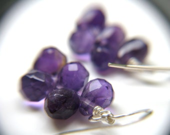 Sterling Silver Amethyst Earrings . Purple Stone Earrings . February Birthstone Jewelry . Purple Earrings - English Garden Collection NEW