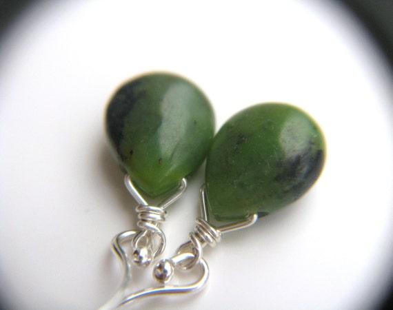 Chrysoprase Earrings . Green Stone Earrings . Green Teardrop Earrings . Plant Leaf Earrings .Silver Wire Wrap Earrings - Aphelion Collection