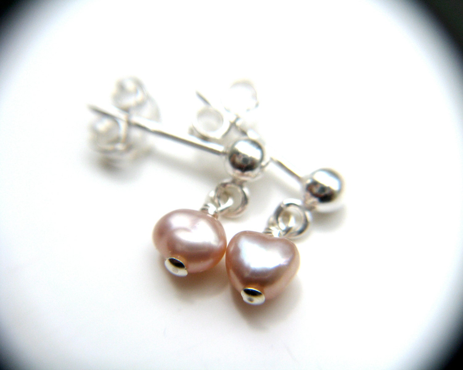 small pearl stud sterling silver stud dangle pink