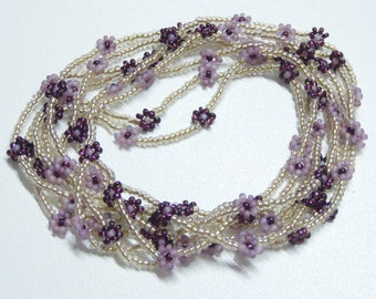 amethyst daisy chain necklace,long beadwoven chain necklace flowers,long bronze and purple necklace,amethyst necklace,wrap bracelet