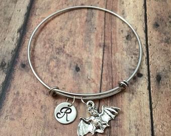 Bat initial bangle - bat jewelry, Halloween jewelry, fruit bat bangle, flying bat bracelet, Halloween jewelry, silver bat initial bracelet