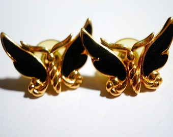 Vintage Trifari Butterfly Earrings, Trifari butterfly, Post earrings, Enamel and Gold Earrings for Pierced ears
