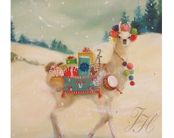 The Northern Christmas Llama Was Elusive But Generous In Nature. Art Print