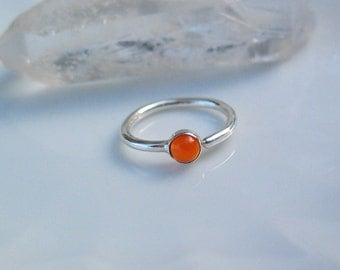 Fire Opal Belly Button Ring, Fine Silver, Captive Ring, Navel Piercing, Body Jewelry, Minimal, Simple