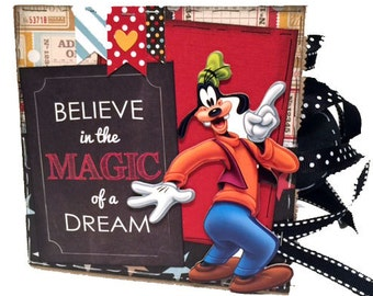 Disney Vacation Paper Bag Scrapbook -  Goofy Scrapbook - Paper Bag Album