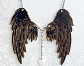 Night Flight Black Wings pendant - puppetry pendant with mother of pearl star