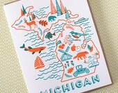 Michigan State Love Letterpress Printed Card