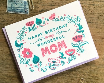 Happy Birthday to My Wonderful Mom Letterpress Card