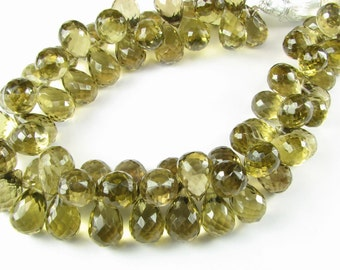 Genuine Untreated Rare Olive Quartz Green / Tan Faceted Chubby 3D Teardrop Tear Drop Gemstone Briolettes  11mm - 12mm (6 beads)
