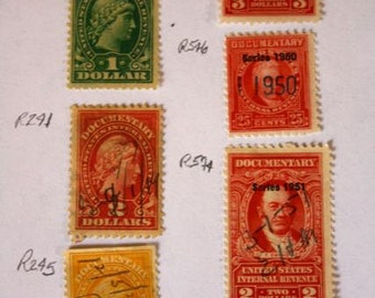 Collection US Tax Revenue Stamps Late 1800's to Mid - 1900's Revenue Stamp Lot Collection of Early American Tax Stamps