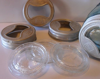 4 Vintage Presto Jar Canning Lids with Glass Inserts